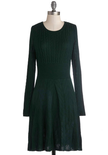Keeping Cozy Dress - Green, Solid, Casual, Sweater Dress, Long Sleeve, Mid-length, Knit, Better, Fall, Winter, Variation, Scoop