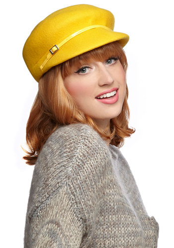 Oh How Sunny Hat by Kling - Yellow, Solid, Buckles, Vintage Inspired, 60s, 70s, International Designer, Mod