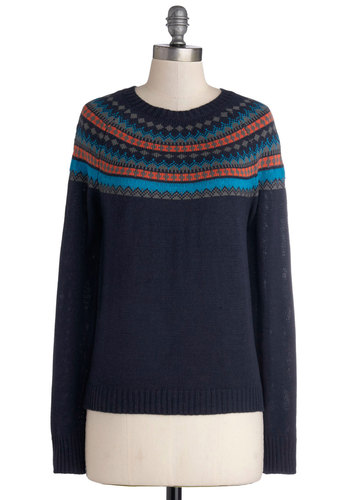 Ready to Reminisce Sweater by Tulle Clothing - Mid-length, Knit, Blue, Multi, Long Sleeve, Winter, Crew, Folk Art, Menswear Inspired, Holiday, Blue, Long Sleeve