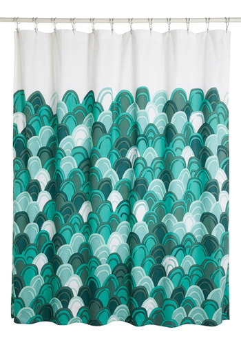 Chic-y Clean Shower Curtain - Cotton, Green, Better, White, Print