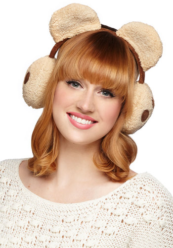 Bear a Resemblance Earmuffs - Print with Animals, Quirky, Winter, Tan, Brown