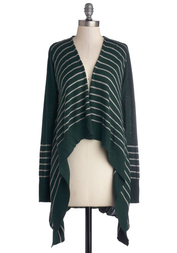 Enchanting Spirit Cardigan - Green, Stripes, Better, Knit, Grey, Handkerchief, Casual, Long Sleeve, Green, Long Sleeve