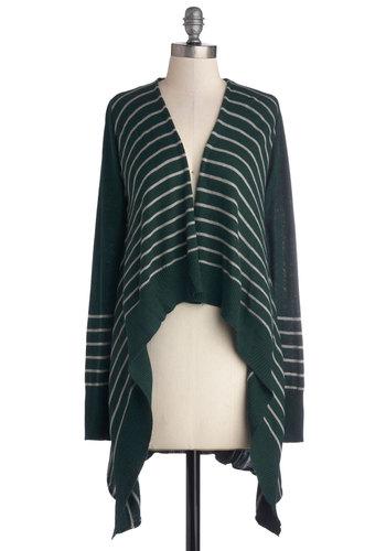 Enchanting Spirit Cardigan - Green, Stripes, Better, Knit, Grey, Handkerchief, Casual, Long Sleeve, Green, Long Sleeve, Long