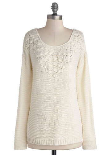 Pure Serenity Sweater - Cream, Solid, Knitted, Long Sleeve, Better, Mid-length, Knit, Casual, Scoop, White, Long Sleeve