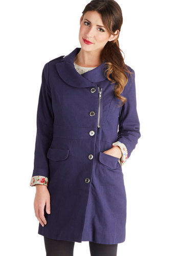 Dory the Explorer Coat - Blue, Solid, Long Sleeve, Good, Long, Cotton, Woven, 2, Buttons, Pockets, Fall, Purple
