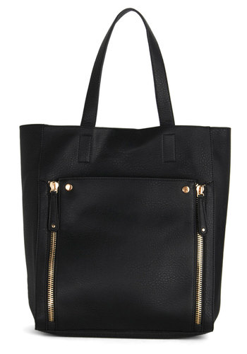 Ongoing Strong Bag - Black, Gold, Solid, Exposed zipper, Work, Better, Faux Leather, Travel