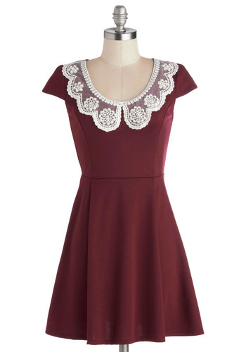 Fairest of Them All Dress - Knit, Red, Solid, Lace, Peter Pan Collar, Party, A-line, Cap Sleeves, Good, Scoop, White, Pearls, Vintage Inspired, Short, Winter, Holiday, Top Rated