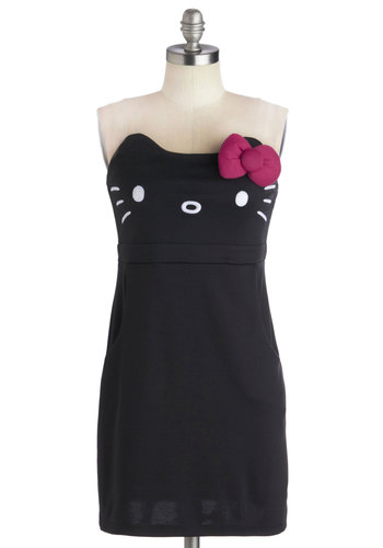Kawaii Not? Dress in Black - Short, Knit, Black, Pink, White, Print with Animals, Pockets, Cats, Shift, Strapless, Better, Sweetheart, Kawaii, Quirky, Variation, Halloween, Bows, Casual, Press Placement, Vintage Inspired, 90s