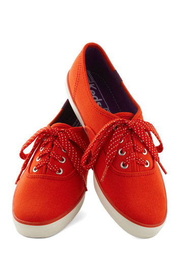 Jump for Joy Sneaker in Red by Keds - Red, Casual, Low, Good, Lace Up, Solid, Variation, 90s