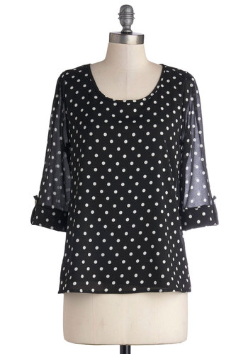 Daily Lunch Date Top in Black - Black, Polka Dots, Better, Mid-length, Woven, Work, Casual, Sheer, Scoop, Black, Tab Sleeve