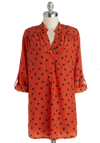 Hosting for the Weekend Tunic in Paprika - Woven, Long, Black, Polka Dots, Buttons, Casual, 3/4 Sleeve, Good, V Neck, Orange, Pockets, Variation, Orange, Tab Sleeve