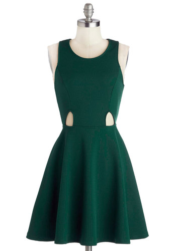 Makings of Moxie Dress - Mid-length, Knit, Green, Solid, Cutout, A-line, Racerback, Good, Scoop, Party