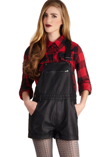 Freestyle Phenomena Overalls - Long, Faux Leather, Black, Solid, Pockets, Casual, Urban, Press Placement