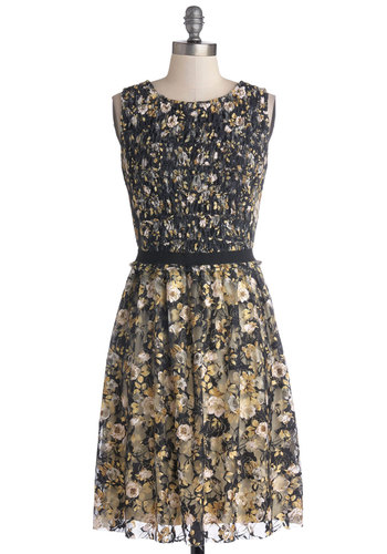 Avant Garden Variety Dress - Tan / Cream, Black, White, Floral, Party, A-line, Sleeveless, Better, Scoop, Sheer, Knit, Mid-length