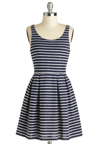 Sweetly Scalloped Dress - Blue, White, Stripes, Pleats, Scallops, Casual, A-line, Tank top (2 thick straps), Good, Scoop, Mid-length, Woven