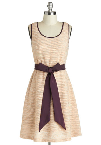 Endearing Evening Dress - Cream, Purple, Cutout, Trim, Belted, Casual, A-line, Tank top (2 thick straps), Better, Scoop, Mid-length, Knit, Backless