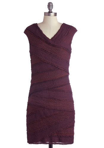 Wine Night In Dress - Purple, Solid, Lace, Party, Shift, Cap Sleeves, Better, V Neck, Jersey, Knit, Mid-length, Girls Night Out, Bodycon / Bandage, Lace