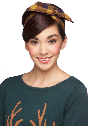 Through the Wire Headband in Yellow Picnic - Yellow, Blue, Plaid, Casual, Scholastic/Collegiate, Better, Variation, Tan / Cream