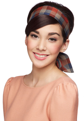 Through the Wire Headband in Red Picnic - Red, Grey, Plaid, Casual, Scholastic/Collegiate, Better, Variation, Woven, Blue