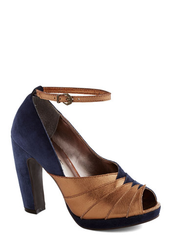 Come Get Me Heel by Seychelles - Blue, Copper, Party, Cocktail, Holiday Party, Luxe, High, Best, Platform, Peep Toe, Leather, Suede