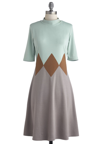 Darling in Diamonds Dress by Myrtlewood - Private Label, Multi, Brown, Grey, Mint, Work, Colorblocking, A-line, Short Sleeves, Exclusives, Mid-length, Jersey, Knit