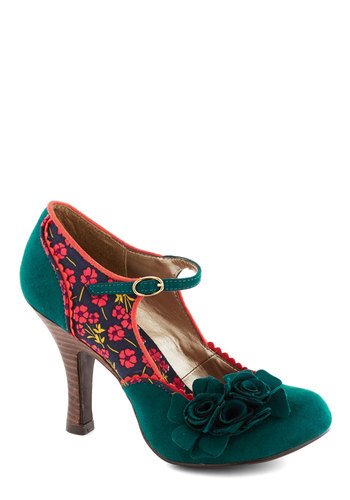 Snazzy Scenery Heel - Multi, Floral, Flower, Scallops, High, Faux Leather, Green, Pink, Party, Daytime Party, Vintage Inspired, Mary Jane