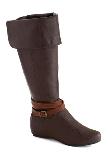 Brisk Pace Boot - Brown, Buckles, Flat, Good, Faux Leather, Casual, Fall