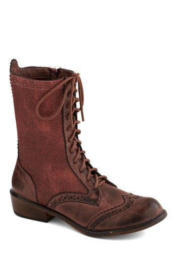 Weatherworn Report Boot in Rust - Red, Menswear Inspired, Steampunk, Low, Better, Lace Up, Woven, Casual, Vintage Inspired, Variation