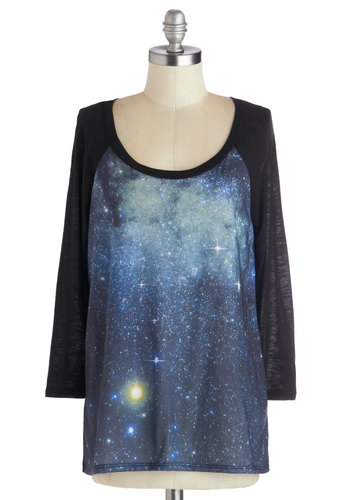 Galaxy the Sights Top - Novelty Print, 3/4 Sleeve, Better, Mid-length, Jersey, Knit, Casual, Cosmic, Scoop, Black, Long Sleeve, Blue, Black, Gifts Sale