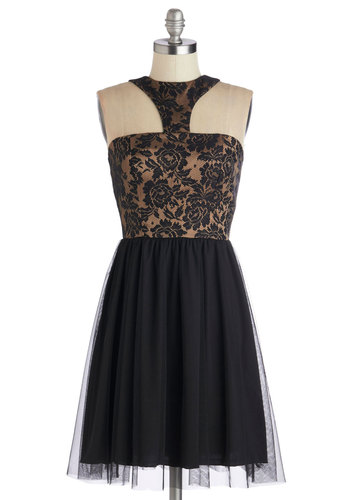 Stunning Salsa Dress - Mid-length, Sheer, Knit, Black, Bronze, Floral, Cocktail, A-line, Good, Halter