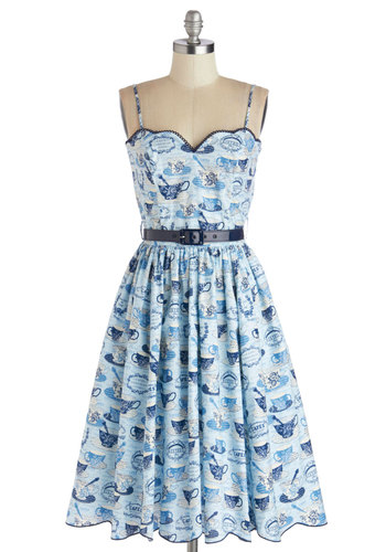 Tea for Yourself Dress - Mid-length, Cotton, Woven, Blue, Novelty Print, Belted, Daytime Party, Spaghetti Straps, Better, Sweetheart, Pockets, Scallops, Vintage Inspired, 50s, Fit & Flare