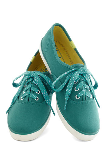 Jump for Joy Sneakers in Teal by Keds - Casual, Low, Good, Lace Up, Blue, Solid, Variation, 90s