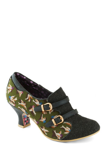 Sparrow Silhouette Heel by Irregular Choice - Green, Multi, Print with Animals, Buckles, Mid, International Designer, Leather, Best, Work