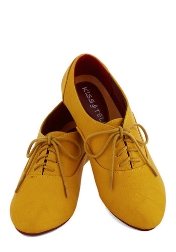 Cartoon Afternoon Flat in Mustard - Yellow, Solid, Menswear Inspired, Flat, Good, Lace Up, Scholastic/Collegiate, Variation
