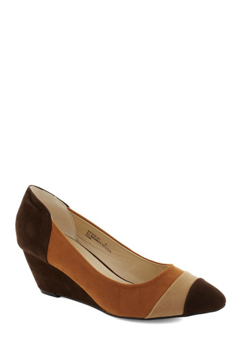 Triple the Taste Wedge - Tan, Brown, Vintage Inspired, 70s, Mid, Good, Wedge, Work, Faux Leather