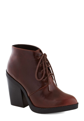 Crosswalk and Talk Bootie by Chelsea Crew - High, Brown, Better, Lace Up, Chunky heel, Solid, Faux Leather, Scholastic/Collegiate