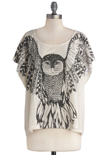 Span of Interests Top - Mid-length, Jersey, Knit, Print with Animals, Casual, Good, Scoop, Cream, Black, Owls, Short Sleeves, Halloween