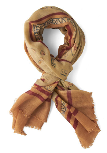 Game for Glamour Scarf by Nice Things - Multi, International Designer, Woven, Tan, Novelty Print, Casual