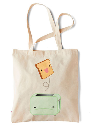 Pop of the Morning Tote by Kling - Multi, Mint, Casual, Quirky, International Designer, Woven, Cream, Novelty Print, Kawaii, Travel, Work