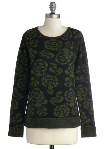 Tranquil Touch Sweater by Jack by BB Dakota - Mid-length, Knit, Green, Black, Floral, Casual, Long Sleeve, Better, Crew, Green, Long Sleeve