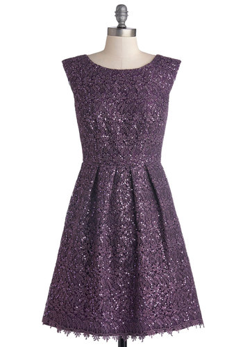 Fun One Like You Dress in Plum - Purple, Solid, Lace, Sequins, Special Occasion, Cocktail, Holiday Party, A-line, Cap Sleeves, Winter, Boat, Better, Mid-length, Wedding, Party, Bridesmaid, Luxe, Knit