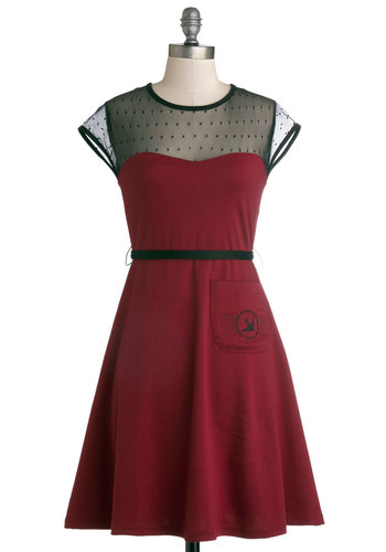 Post Haste Dress - Mid-length, Sheer, Red, Black, Pockets, Belted, A-line, Cap Sleeves, Crew, Knit, Party, Better