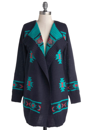 Valley Cabin Charm Cardigan - Blue, Red, Casual, Long Sleeve, Better, Knit, Print, Blue, Long Sleeve