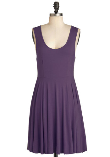 Days of the Chic Dress in Amethyst - Jersey, Knit, Purple, Solid, Casual, A-line, Tank top (2 thick straps), Good, Scoop, Minimal, Variation, Basic, Short, Cover-up