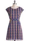 Summon the Aplomb Dress by Tulle Clothing - Multi, Blue, Chevron, Pockets, Belted, Casual, A-line, Cap Sleeves, Better, Mid-length, Chiffon, Woven, Red, Tan / Cream, Black, Print