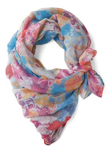The Tahiti Is On Scarf - Multi, Casual, Better, Sheer, Woven, Print, Gals