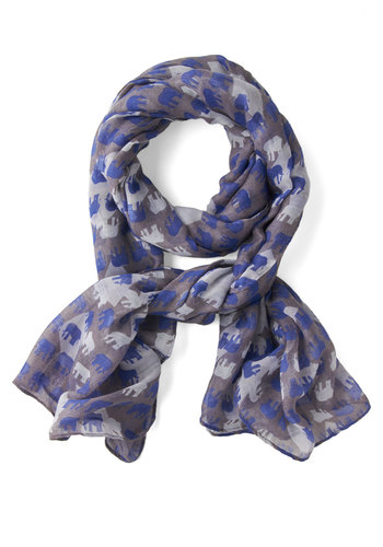 Savannah Savvy Scarf - Grey, Blue, White, Print with Animals, Casual, Better, Woven, Sheer, Spring
