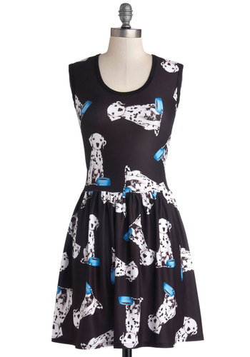 My Kinda Gallop Dress in Dalmatian - Mid-length, Knit, Black, Blue, White, Print with Animals, Casual, A-line, Sleeveless, Good, Scoop, Quirky, Variation, Top Rated