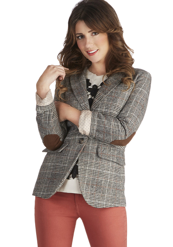 Patch in Action Blazer - Grey, Brown, Patch, Menswear Inspired, Long Sleeve, Mid-length, 2, Tan / Cream, Plaid, Work