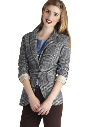 Patch in Action Blazer in Blue and Grey - Multi, Plaid, Buttons, Work, Long Sleeve, Pockets, Menswear Inspired, Scholastic/Collegiate, Fall, 2, Multi, Mid-length